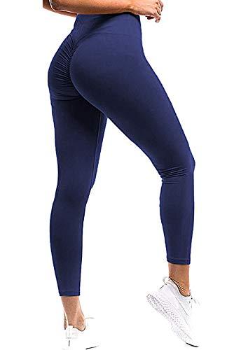 FITTOO Mallas Pantalones Deportivos Leggings Mujer Yoga de Alta Cintura Elásticos y Transpirables para Yoga Running Fitness con Gran Elásticos Azul Oscuro S