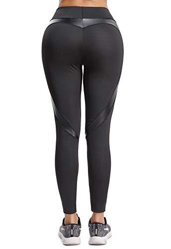 FITTOO Mallas Pantalones Deportivos Leggings Mujer Yoga de Alta Cintura Elásticos y Transpirables para Yoga Running Fitness con Gran Elásticos680 Negro L