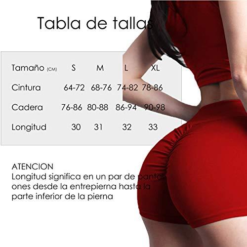 FITTOO Pantalones Cortos Leggings Mujer Mallas Yoga Alta Cintura Elásticos Transpirables #1 Rojo XL