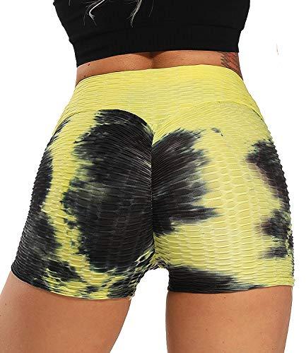 FITTOO Pantalones Cortos Leggings Mujer Mallas Yoga Alta Cintura Elásticos Transpirables #2 Amarillo & Negro M