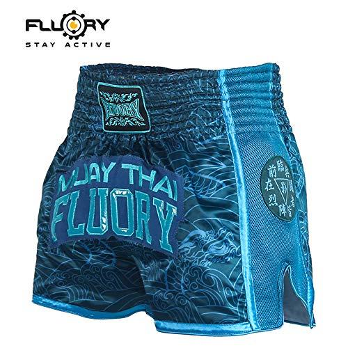 FLUORY Pantalones cortos de Muay Thai, resistentes al desgarro, para artes marciales, artes marciales mixtas, ropa para hombres y mujeres, niños, color azul oscuro, tamaño extra-small