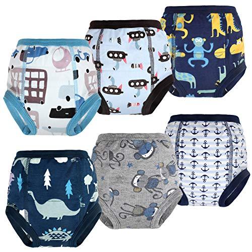 Flyish - 6 pantalones de entrenamiento para bebé, ropa interior de entrenamiento para niños, ropa interior para niños y niñas, pañales antigoteo de 2 a 5 años azul 3 años
