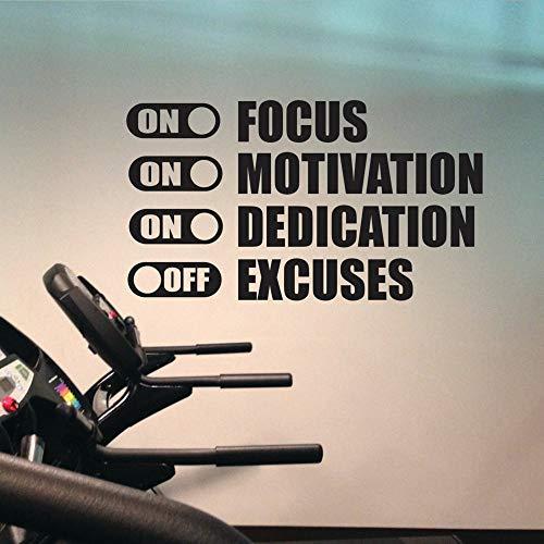 Focus On Motivation On Excuses Off Motivación del gimnasio Entrenamiento Fitness Vinilo Arte Tatuajes de pared Decoración del hogar