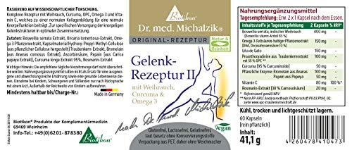 Fórmula articular I + II según Dr. Med. Michalzik, contiene ácido hialurónico, MSM, sulfato de condroitina, glucosamina, vitamina C, incienso, curcuma, OPC y Omega 3