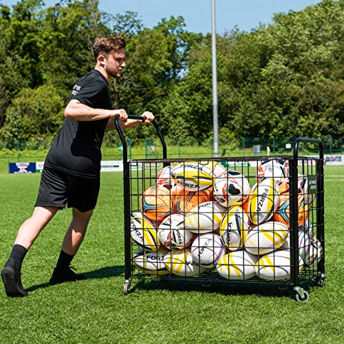 FORZA Carro Portabalones Portátil para Equipaje/Balones Deportivos – Cesta Guardapelotas con Ruedas Giratorias & Sistema de Frenos