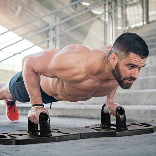Fostoy Push Up Rack Board, 9 en 1 Push Up Tablero Plegable y Multifuncional Equipo de Fitness con Bandas de Resistencia para Hombres Mujeres Entrenamiento Muscular Gimnasio Hogar