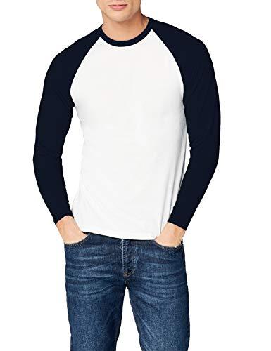 Fotl Long Sleeve Baseball tee Camisa, Multicoloured (White/Navy), L para Hombre