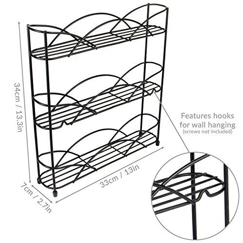 Free Standing 3 Tier Herb & Spice Rack | Non-slip Universal Design| M&W Black New