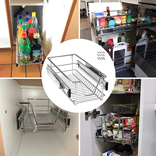 Froadp 2 Piezas Cocina Estante Cajón Telescópico Dormitorio Extensible Gabinete Estantes y Soportes Organizadores de Cajones para Cocina y Despensa(30cm)