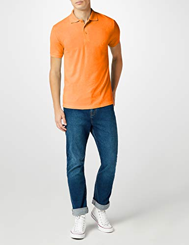 Fruit of the Loom 65/35 Pique Polo - Polo Hombre, Naranja, Small