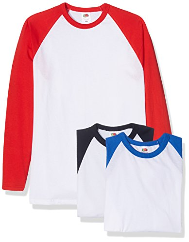 Fruit of the Loom Baseball Classic Long Sleeve Camiseta, Blanco Azul Marino/Blanco Rojo/Blanco Azul Royal, M (Pack de 3) para Hombre