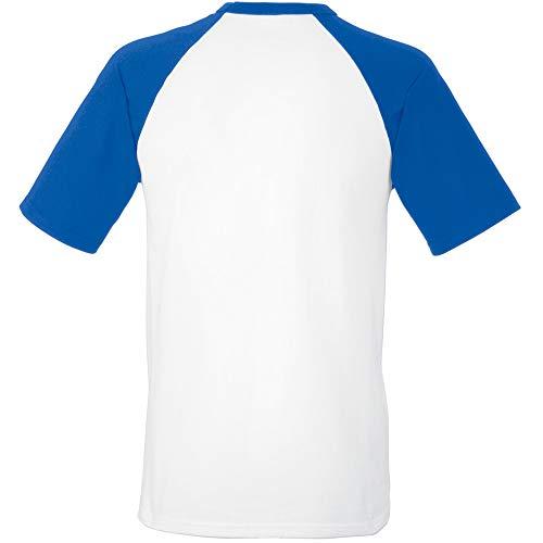 Fruit of the Loom - Camiseta baseball manga corta multicolor blanco / negro Medium