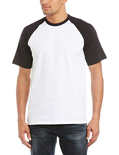 Fruit of the Loom Short Sleeve Baseball Shirt, Camisa para Hombre, Multicoloured (White/Black), Medium
