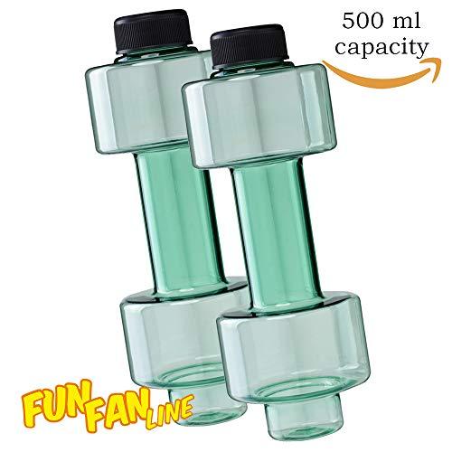 FUN FAN LINE - Pack x2 Botella mancuerna de Medio Kilo Cada una para Entrenamiento en casa. Botellas Que se llenan de Agua para Trabajar musculación sirviendo como Pesas. Capacidad 500 ml Cada una.