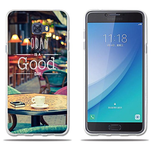 "Funda Carcasa para Samsung Galaxy C7 Pro, Carcasa de Silicona Transparente TPU, FUBAODA, Dibujo con Lema Buen Día, Carcasa Protectora de Goma de Altisima Calidad para Samsung Galaxy C7 Pro (5.7"")"