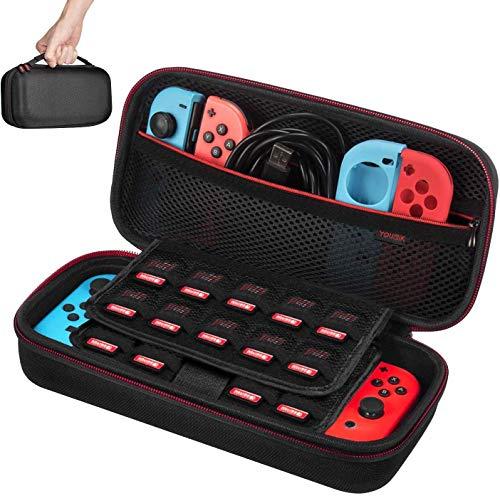Funda para Nintendo Switch - Younik Versión mejorada Viaje rígida Case con más Espacio de almacenamiento para 19 Juegos, oficial adaptador de AC y otros accesorios Nintendo Switch