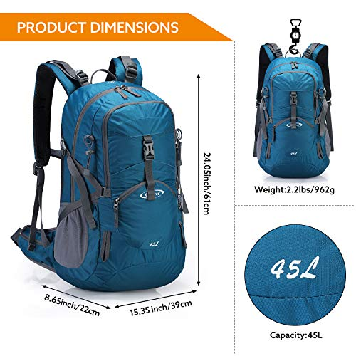 G4Free 45L Mochila de Senderismo Impermeable Mochila Grande Mochila de Viaje para Acampar al Aire Libre Montañismo Trekking con Funda de Lluvia