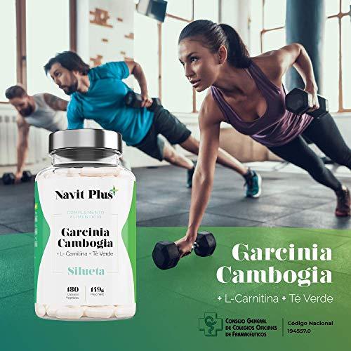 Garcinia Cambogia 1200mg DDR + L-Carnitina + Té Verde | Reductor del apetito | Quemagrasas 100% natural | Fabricado en España | Código Nacional Farmacia 194557.0 | 180 cápsulas vegetales | Navit Plus