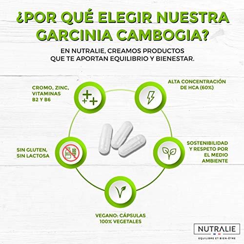 Garcinia Cambogia | Quemagrasas 100% Natural e Inhibidor del Apetito | Termogénico de Alta concentración 60% HCA | 90 Cápsulas Veganas | Nutralie