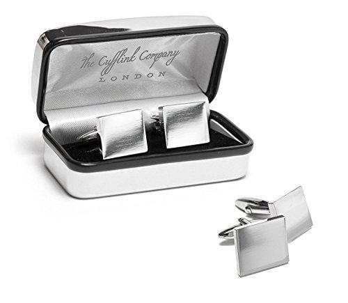 Gemelos de plata cuadrados con lujosa funda cromada, grabado personalizable