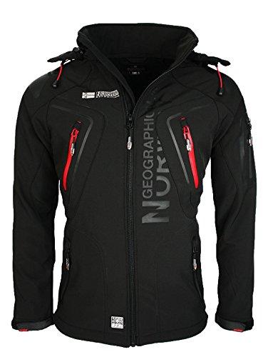 Geographical Norway Techno - Chaqueta flexible para hombre, con capucha desmontable, Hombre, color Negro , tamaño XXL