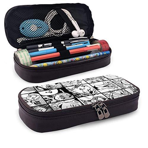 GFHTH Aoyama Yugo - La caja de papelería de cuero Pu marrón de alta calidad de Collage se puede utilizar como lápiz, cosmético, monedero, billetera 60 y veces; 72 pulgadas