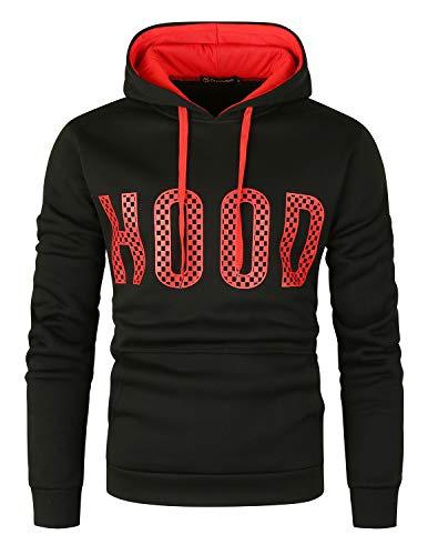 GHYUGR Sudadera con Capucha Hombre Colores de Contraste Estampado Hoodie Sweatshirt Pullover con Bolsillo Otoño Invierno Deporte Outwear,Negro+Rojo,L