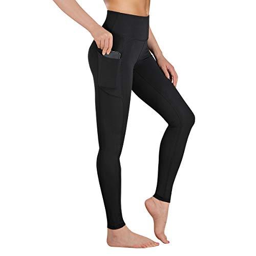 Gimdumasa Pantalón Deportivo de Mujer Cintura Alta Leggings Mallas para Running Training Fitness Estiramiento Yoga y Pilates GI188 (Negro, XL)