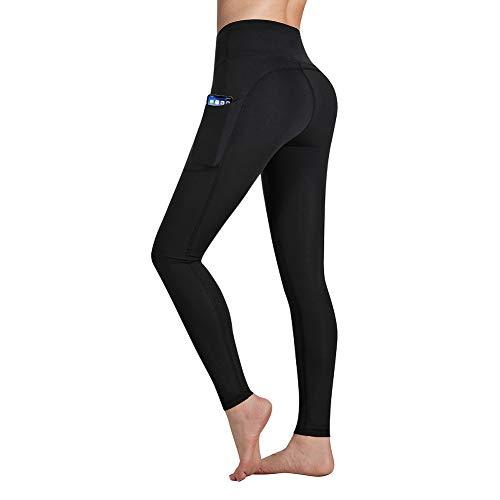 Gimdumasa Pantalón Deportivo de Mujer Cintura Alta Leggings Mallas para Running Training Fitness Estiramiento Yoga y Pilates GI188 (Negro, XS)