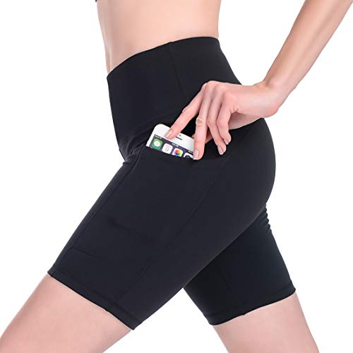 Gimdumasa Pantalones Cortos Deporte Mujer Cintura Alta Shorts Leggins Pantalones Cortos de Yoga para Correr Gym Fitness Mallas Deportivos con Bolsillos Laterales GI371 (Negro, XL)