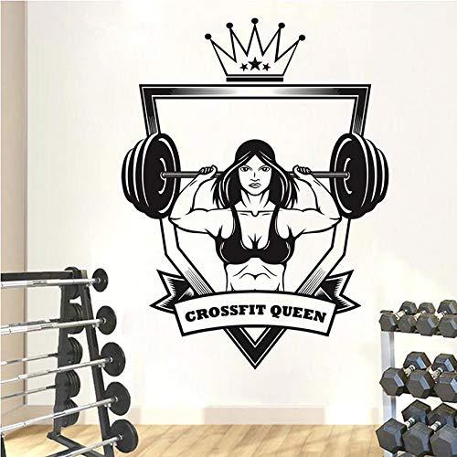 Gimnasio crossfit sala de estar etiqueta de la pared arte etiqueta de la pared mural habitación pared película de vinilo fitness hombre músculo peso potencia etiqueta engomada del coche vidrio 57x75cm