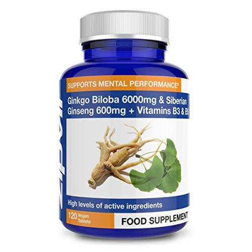 Ginkgo Biloba y Ginseng Siberiano, Ginkgo Estandarizado 6000mg y Ginseng 600mg con Vitamina B3 y B5. 120 Tabletas Veganas. Suministro por 4 Meses
