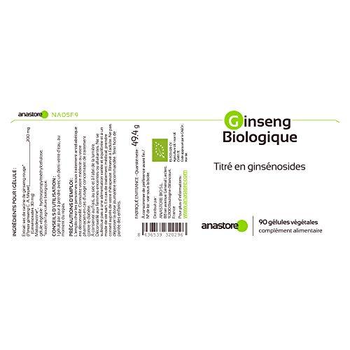 GINSENG ECOLÓGICO * 200 mg / 90 cápsulas * Extracto concentrado de raíz de ginseng rojo coreano (Panax ginseng) * Titulado al 15% en ginsenósidos totales * Energia, Equilibrio emocional, Vitalidad