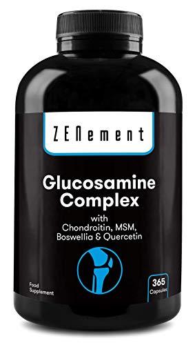 Glucosamina Complex con Condroitina, MSM, Boswellia y Quercetina, 365 Cápsulas   Para el dolor en las articulaciones   No-GMO, GMP, sin aditivos, sin Gluten   de Zenement