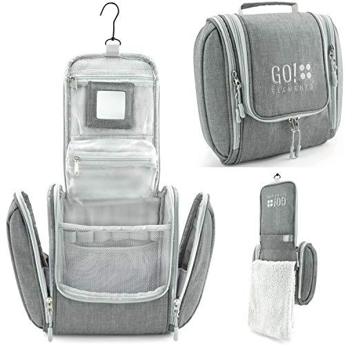 GO!elements® Bolsa de Aseo para Colgar Hombres y Mujeres | Neceser cosmético Hombre Grande Mujer para Maletas y Equipaje de Mano | Neceser de Viaje, Color:Gris