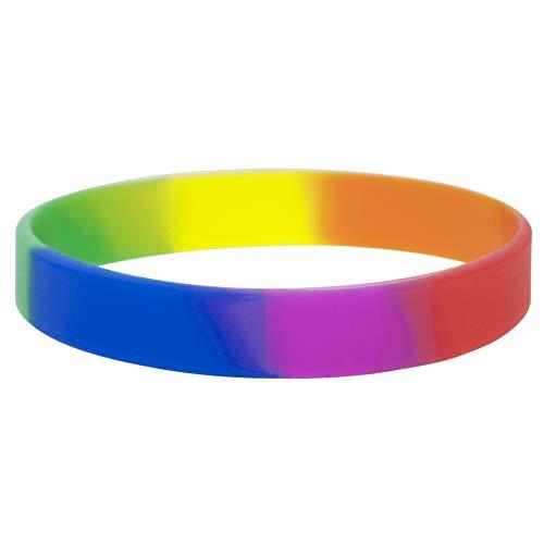 Gogo 10pcs Rainbow Orgullo Pulseras de Silicona, Pulseras de Goma, Recuerdo de la Fiesta