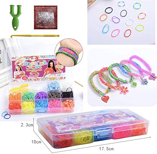 Gomas para hacer pulseras 600 pcs Kit de Pulseras de Goma, DIY para Hacer Joyas para Niños Pulseras Banda de Telar Juego creativo para niños