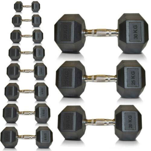 Goodbuy - 2 Unidades de 15kg, Mancuernas hexagonales de Hierro Fundido recubiertas de Caucho, ergonómicas, empuñadura Antideslizante