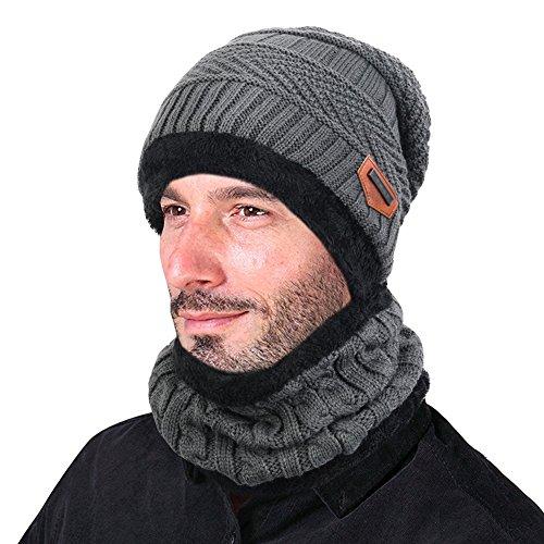 Goodbuy Gorro Invierno Hombre con Bufanda, Calentar Sombreros Gorras Beanie de Punto (Gris)