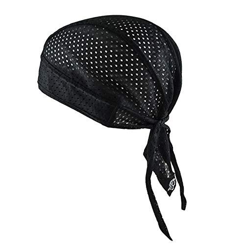 Gorro deportivo de secado rápido con protección UV, bandana de ciclismo para correr, bicicleta, motocicleta, calavera, gorro debajo del casco, color Malla negra., tamaño talla única