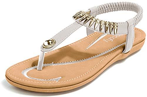 gracosy Sandalias para Mujer Planas Verano Zapatos de Dedo Sandalias Talla Grande Cinta Elástica Casuales de Playa Chanclas de Mujer Estilo Bohemia 2020 Negro Verde Rojo Azul