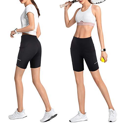 GRAT.UNIC Pantalón Corto Deportivo para Mujer, Running Pantalones Cortos de Yoga con Bolsillo Lateral, Fitness Mallas Deportivas (Negro, L)