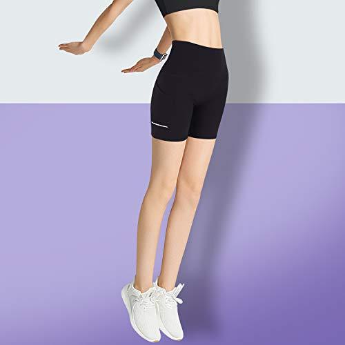 GRAT.UNIC Pantalón Corto Deportivo para Mujer, Running Pantalones Cortos de Yoga con Bolsillo Lateral, Fitness Mallas Deportivas (Negro(un Cuarto), L)