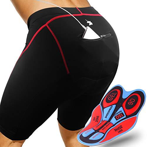 GRAT.UNIC Pantalones Cortos de Bicicleta,Shorts de Ciclismo,9D Padded Shorts,Gel de Silicona,Biker Shorts, Medio Pantalones para Bicicleta de Carretera (Negro&Rojo, L)