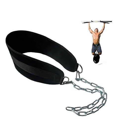 Grofitness Pull-up cinturón con Peso Dip cinturón con Cadena Doble D-Ring Levantamiento de Pesas Espalda Apoyo Correa Gimnasio en casa Equipo Cintura cinturón