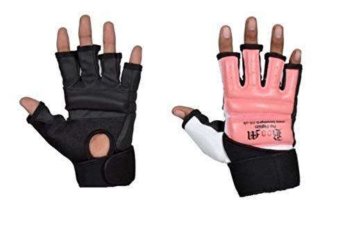 Guantes de cuero sin puntas de los dedos, para artes marciales, MMA, Kick Boxing, boxeo, Muay Thai, de Boom Prime, hombre, color rosa, tamaño Medium