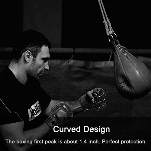 Guantes de entrenamiento de boxeo de medio dedo, GranVela MMA ZOOBOO. Guantes de entrenamiento con medio dedo para boxeo, guantes de boxeo con correa de muñeca ajustable para Kickboxing, Sparring, Muay Thai, talla única ajustable., Z851118, blanco