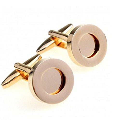 Gudeke Men's Functional Cufflinks Round Frame Photos Can Be Placed Gemelos funcionales de los hombres Se puede colocar fotos (oro)