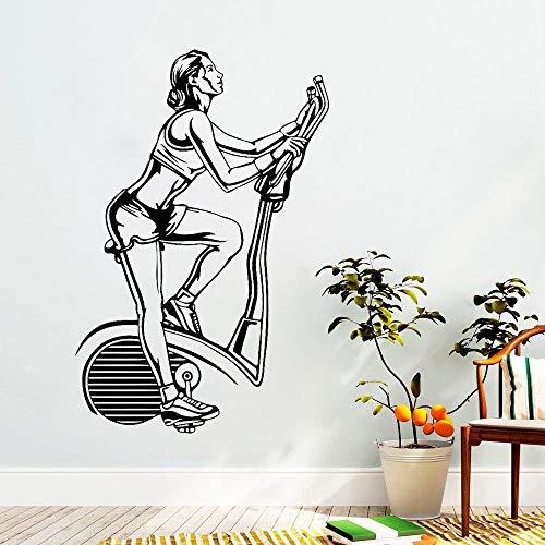 guijiumai Fitness Gym Bike Wall Decal Sport Motivation Vinyl Sticker Art Decor Mural Home Gym Room Decoration Calcomanías extraíbles102X153CM
