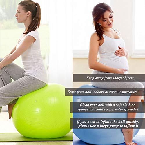 GYMBOPRO Fitness Pelota de Ejercicio - Bola Suiza con Bomba de Inflado ,Bola de yoga antirrebote y antideslizante Bola de equilibrio para gimnasio Pilates Gimnasio de yoga (65 cm, Rosado)